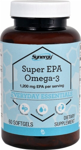 Vitacost Synergy Super EPA Omega-3 Dietary Supplement Softgels 1200mg Perspective: front