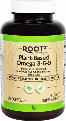Vitacost  ROOT2 Plant-Based Omega 3-6-9 Perspective: front