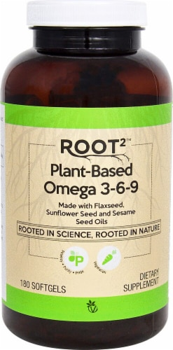Vitacost ROOT2 Plant-Based Omega 3-6-9 Vegetarian Softgels Perspective: front