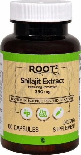 Vitacost  ROOT2 Shilajit Extract Featuring PrimaVie® Perspective: front