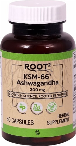 Vitacost ROOT2 KSM-66 Ashwagandha Dietary Supplement Perspective: front