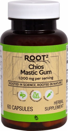 Vitacost ROOT2 Chios Mastic Gum Herbal Supplement Capsules 1000mg Perspective: front