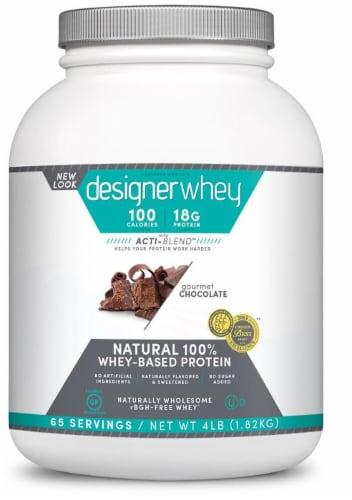 Designer Protein  Protein Powder   Gourmet Chocolate Perspective: front