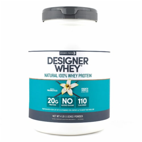 Designer Protein  Natural 100% Whey Protein Powder   French Vanilla Perspective: front
