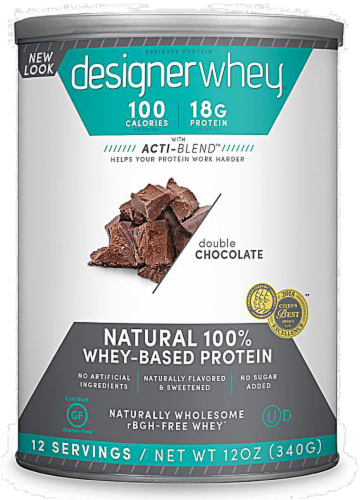 Designer Whey Protein Powder Double Chocolate Perspective: front