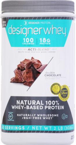Designer Whey Double Chocolate Protein Powder Perspective: front