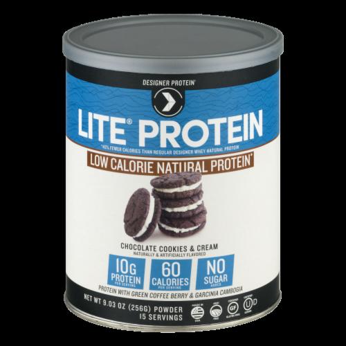 Designer Protein Lite Protein Chocolate Cookies & Cream Protein Powder Perspective: front