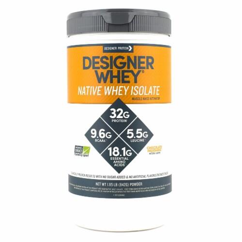 Designer Protein  Native Whey Isolate   Chocolate Milkshake Perspective: front