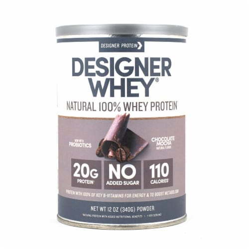 Designer Protein  Natural 100% Whey Protein Powder   Chocolate Mocha Perspective: front