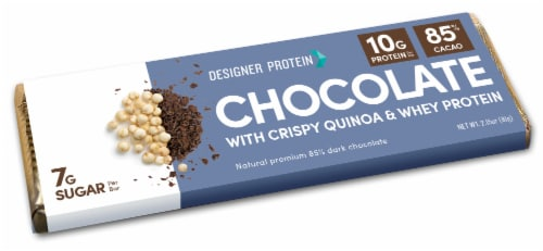 Designer Protein 85% Cacao Chocolate with Crispy Quinoa and Whey Protein Perspective: front