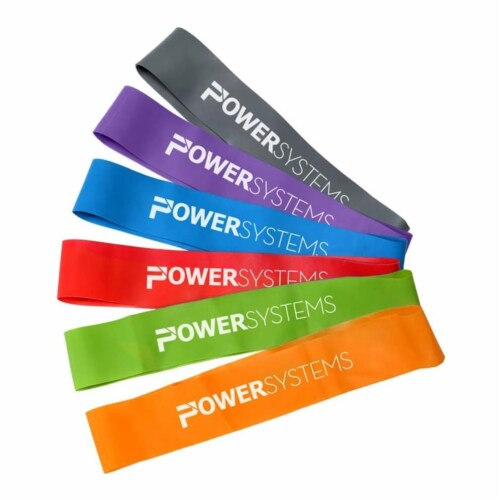Power Systems Versa Loop Resistance Bands for Home Gym Power Training, Set of 6 Perspective: front