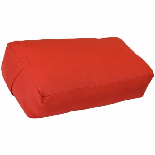 Yoga Accessories Supportive Rectangular Travel Cotton Yoga Bolster, Cardinal Red Perspective: front