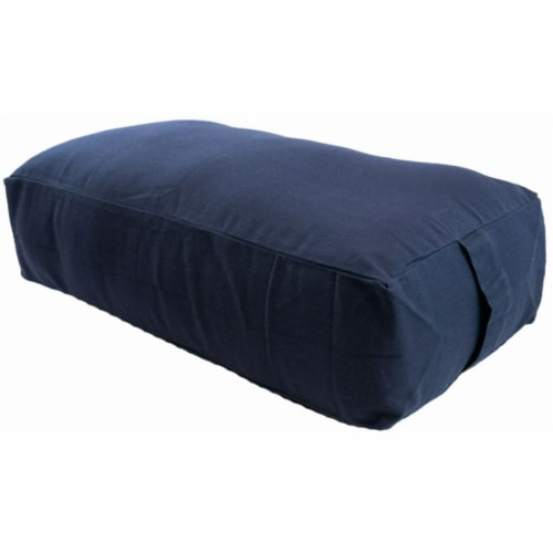 Yoga Accessories Max Support Deluxe Rectangular Travel Cotton Yoga Bolster, Blue Perspective: front