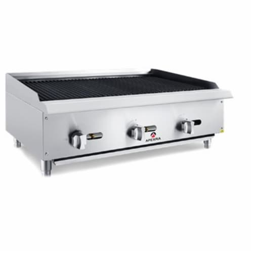 Apexra APCB-36LP 36 in. Char-Rock Charbroiler, 105000K BTU LP Perspective: front