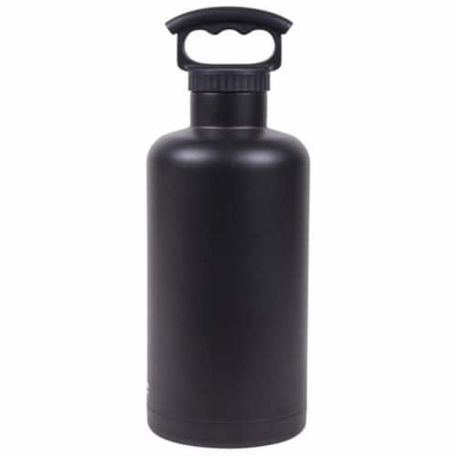 Fifty-Fifty V65001BK0 Matte Black Vacuum-Insulated Tank Growler- 64oz Perspective: front
