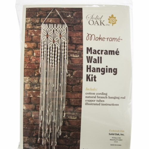 Solid Oak Macrame  Wall Hanging Kit Perspective: front