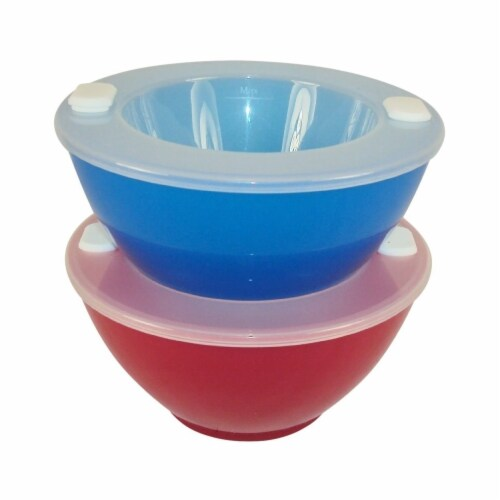 Hot n Cold Food Storage Bowls - Red/Blue Perspective: front