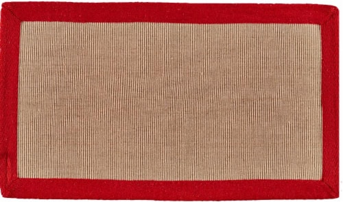 Feizy Bordered Jute Accent Rug - Beige/Red Perspective: front