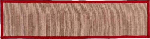 Feizy Bordered Jute Floor Runner - Beige/Red Perspective: front