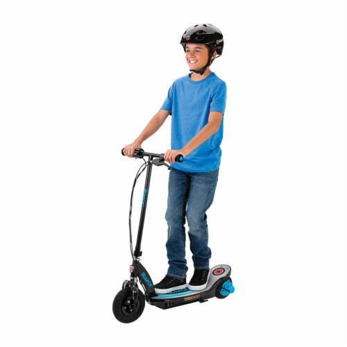 Razor Power Core E100 Kids Motorized Electric Powered Kick Start Scooter, Blue Perspective: front