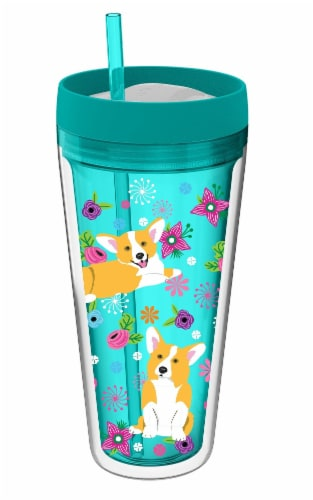 Cool Gear Tumbler Dog Puppy Double Insulated Water Drink Cup Straw 24 oz Pink