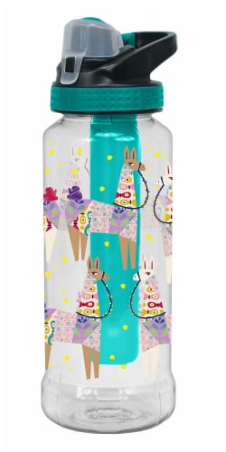 Cool Gear Rigid Chug Lid Llamas Bottle - Teal Perspective: front