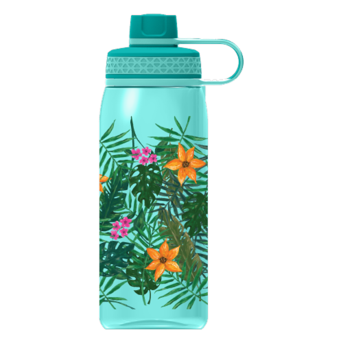 Cool Gear Print System Chug Tropical Leaves Thermal Beverageware - Aqua Perspective: front