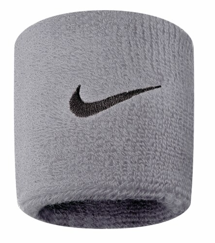Nike Swoosh Wristbands - Gray Heather Perspective: front