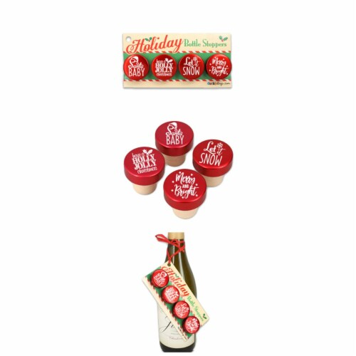 Ducky Days 1.25x1.25 in. Dia. Christmas Holiday Sayings Red Aluminum Top Bottle Stoppers Perspective: front