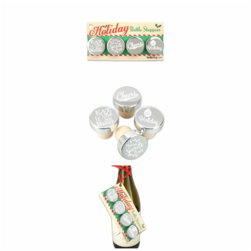 Ducky Days 1.25x1.25 in. Dia. Nice Holiday Silver Aluminum Top Bottle Stoppers Perspective: front