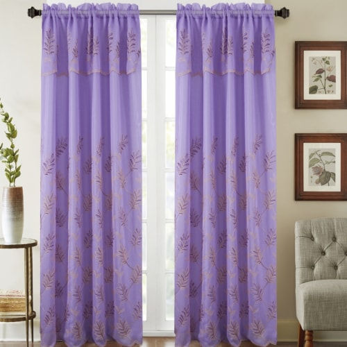 Olivia Gray PNB23746 54 x 90 in. Burton Floral Embroidered Single Rod Pocket Curtain Panel Wi Perspective: front