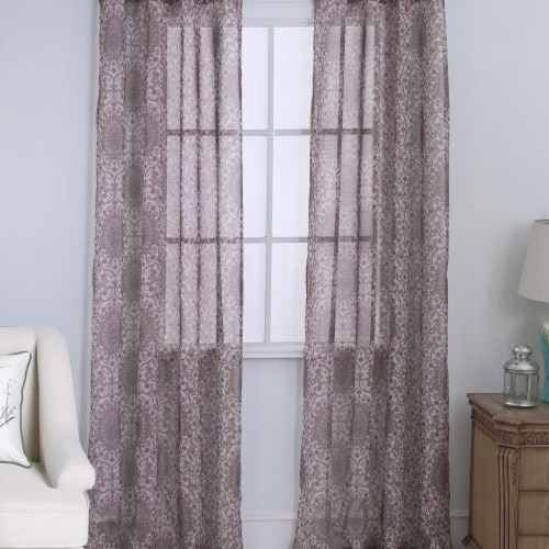 Olivia Gray PNM28479 54 x 84 in. Marianna Damask Printed Doily Single Grommet Curtain Panel - Perspective: front