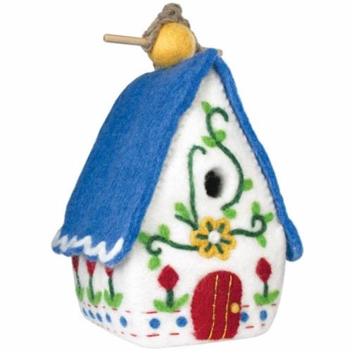 Wild Woolies Handmade Felt Heidi Chalet Birdhouse Perspective: front