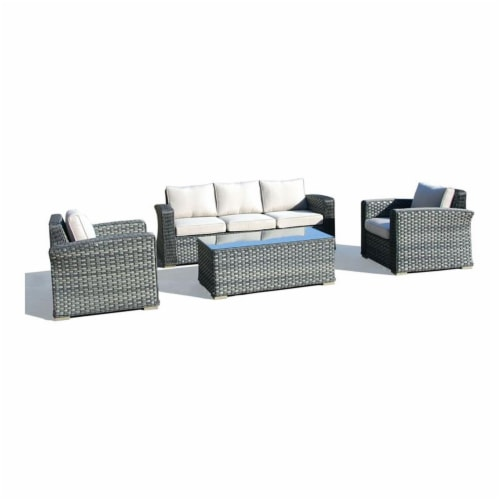 Alfresco Home Palisades 4-piece Resin Wicker Seating Group in Java Brown Perspective: front