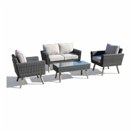 Alfresco Home Castlewood 4-piece Resin Wicker Seating Group in Stone Gray Perspective: front