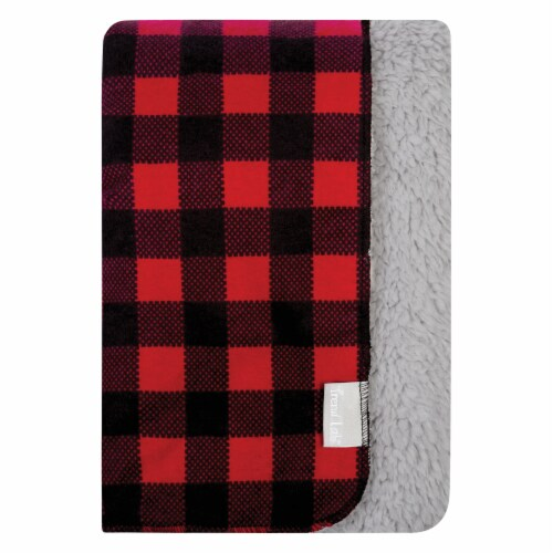 Trend Lab Flannel and Faux Shearlng Baby Blanket - Red and Black Buffalo Check Perspective: front