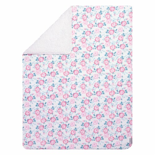 Trend Lab® Emma Floral Flannel and Faux Shearling Baby Blanket Perspective: front