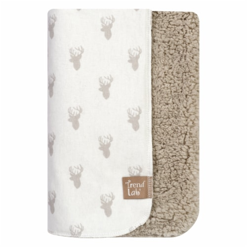 Trend Lab Flannel and Faux Shearling Baby Blanket - Gray Stag Head Perspective: front