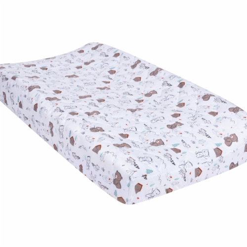 Trend-Lab 103358 18 x 32 in. Fishing Bears Quilted Jersey Changing Pad Cover, Multi Color Perspective: front