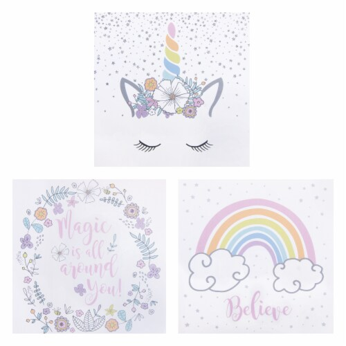 Trend Lab Rainbow Unicorns Canvas Wall Art - 3 Pack Perspective: front