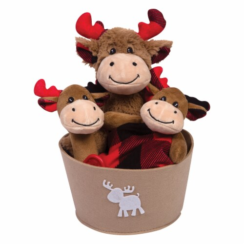 Trend Lab Buffalo Check Moose Bucket Gift Set Perspective: front