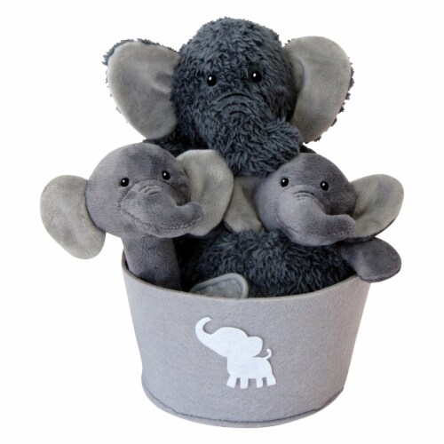 Trend Lab Elephant Plush Gift Set Bucket Perspective: front