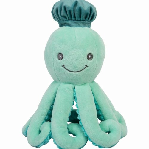 Trend-Lab 50001 9 in. Octopus Plush Toy with Rattle Plush Frying Pan & Spatula Crinkle Paper, Perspective: front