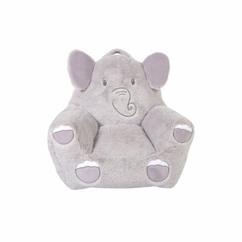 Cuddo Buddies Gray Elephant Plush Chair Perspective: front
