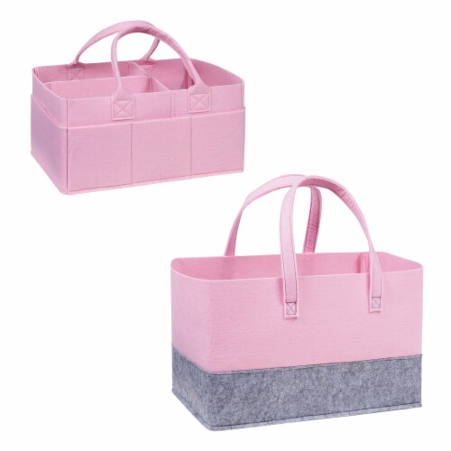 Sammy & Lou Pink Felt Caddy & Tote Set Perspective: front