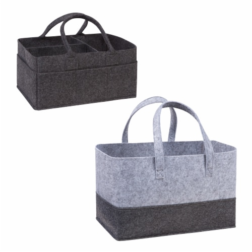 Sammy & Lou Charcoal Felt Caddy & Essential Tote Set Perspective: front