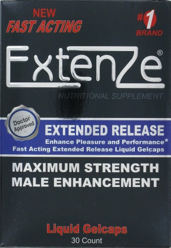 Extenze Male Enhancement Liquid Gelcaps Perspective: front