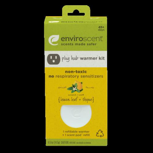 Enviroscent Plug Hub Lemon Leaf and Thyme Scent Pod Warmer Kit Perspective: front