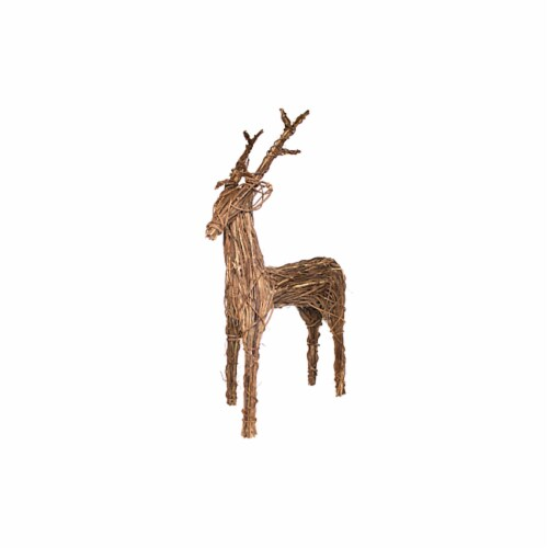 Good Tidings Natural Grapevine Standing Deer Decoration Perspective: front