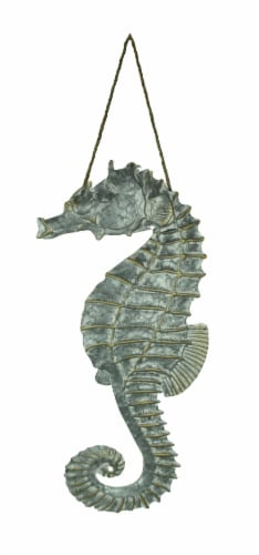 Galvanized Embossed Metal Art Seahorse Wall Decor Perspective: front